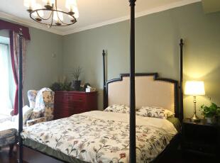 软装的搭配 总是引起人们内心的舒适感,卧室,现代美式,成都设计,四居,80后,绿色,