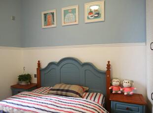宝石蓝视觉惬意,且充满幻想,为宝宝准备。,儿童房,现代美式,成都设计,四居,80后,蓝色,白色,