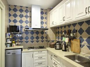 ,厨房,现代美式,成都设计,四居,80后,白色,蓝色,