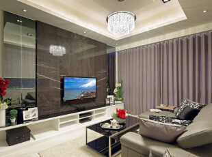 大面积石材所砌立的电视主墙,两侧以对称手法装置茶镜,下方则陈设电视柜平台,均有拉长与延展空间尺度的作用。,89平,9万,现代,三居,客厅,黑白,