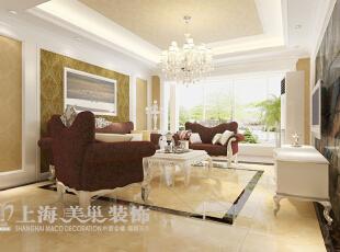 雅居乐国际花园C-1户型4室2厅沙发墙简欧风格装修方案,135平,8万,现代,一居,客厅,黄色,