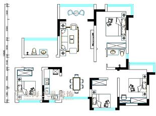 雅居乐国际花园C-1户型135平方四室两厅平面设计方案户型图,135平,8万,现代,一居,