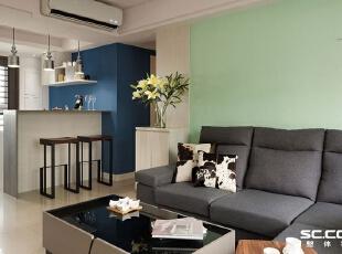 ,93平,13万,现代,三居,客厅,黑白,绿色,