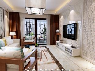 ,150平,10万,中式,三居,客厅,白色,原木色,
