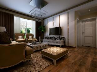 电视背景墙以石膏板加茶镜相结合,给人一种层次的错落感。,88平,7.3万,简约,两居,客厅,黄色,