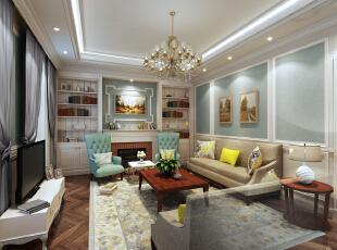 客厅,400平,25万,小资,别墅,小法式,小清新,客厅,黄色,蓝色,