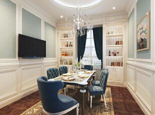 餐厅,400平,25万,小资,别墅,餐厅,欧式,蓝色,