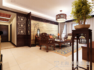 绿城百合180平方四室两厅新中式风格装修效果图---客厅,180平,20万,中式,四居,