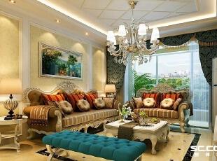 沙发背景墙使用壁画作为装饰,使墙面有了层次感。整个空间透露出一种低调的奢华。,118平,15万,新古典,三居,
