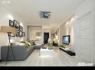现代简约风带有一丝美帝赶脚~厨房改造成半开放式,届时采用艺术玻璃格挡。,100.0平,6.0万,简约,三居,客厅,白色,