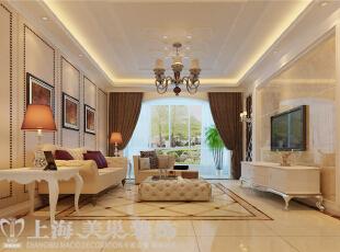 贰号城邦140平三室两厅简欧风格装修案例--沙发墙效果图,140平,10万,欧式,三居,客厅,