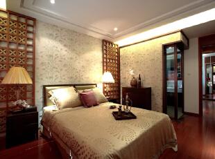 主卧让客厅的隔断有所延续,153平,18万,中式,四居,卧室,