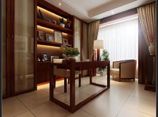 此户型以现代中式风格为主题,结合客户自身的需求与习惯,色彩以深色沉稳为主,因中式家具色彩一般比较深,这样整个居室色彩才能协调,再配以红色或黄色的靠垫、坐垫就可烘托居室的氛围,这样也可以更好的表现古典家具的内涵。 空间上讲究层次,用隔窗、屏风来分割,用实木做出结实的框架,以固定支架,中间用棂子雕花,做成古朴的图案. 客厅是传统与现代居室风格的碰撞,以现代的装饰手法和家具,结合古典中式的装饰元素,来呈现亦古亦今的空间氛围。中式风格的古色古香与现代风格的简单素雅自然衔接,使生活的实用性和对传统文化的追求同时得到了满足。,180平,21.3万,中式,三居,书房,