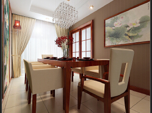 此户型以现代中式风格为主题,结合客户自身的需求与习惯,色彩以深色沉稳为主,因中式家具色彩一般比较深,这样整个居室色彩才能协调,再配以红色或黄色的靠垫、坐垫就可烘托居室的氛围,这样也可以更好的表现古典家具的内涵。 空间上讲究层次,用隔窗、屏风来分割,用实木做出结实的框架,以固定支架,中间用棂子雕花,做成古朴的图案. 客厅是传统与现代居室风格的碰撞,以现代的装饰手法和家具,结合古典中式的装饰元素,来呈现亦古亦今的空间氛围。中式风格的古色古香与现代风格的简单素雅自然衔接,使生活的实用性和对传统文化的追求同时得到了满足。,180平,21.3万,中式,三居,餐厅,
