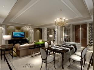 华丽的欧式线条,在功底深厚的设计师的处理下,为业主呈现出个富有生机的餐厅和客厅。,200平,30万,欧式,大户型,