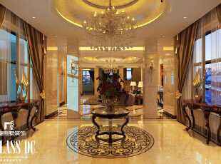 水晶吊灯凸显高贵,360平,40万,新古典,别墅,别墅装修,玄关,