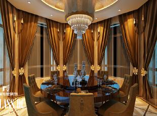 餐桌的设计,为餐厅增加很多亮点,360平,40万,新古典,别墅,别墅装修,餐厅,