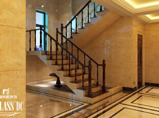 理石搭配橡木楼梯才是最美,360平,40万,新古典,别墅,楼梯,别墅装修,