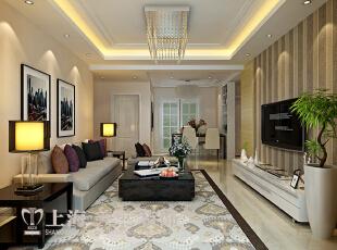 鑫苑世纪东城113平三室两厅装修方案——客厅装修效果图,113平,7万,现代,三居,客厅,