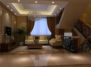 ,160平,25万,欧式,四居,客厅,白色,原木色,黄色,