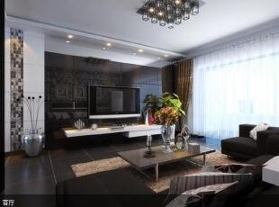 ,153平,6万,现代,四居,客厅,黑白,黄色,绿色,