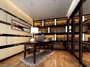 【实创整体家装】现代风格书房效果图,120平,13万,现代,三居,书房,简约,黑白,
