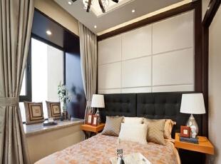 【实创整体家装】现代风格卧室效果图,120平,13万,现代,三居,卧室,简约,黑白,