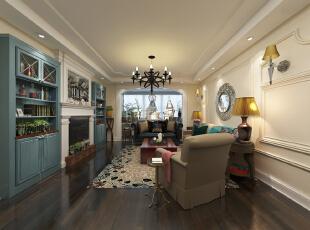 ,14平,25万,混搭,三居,客厅,美式,白色,原木色,绿色,