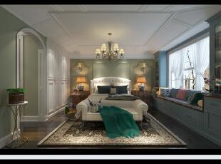 ,14平,25万,混搭,三居,卧室,绿色,白色,原木色,欧式,美式,小资,