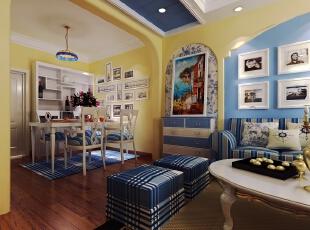 ,96平,8万,地中海,两居,客厅,黄色,