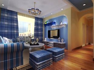 ,96平,8万,地中海,两居,客厅,蓝色,