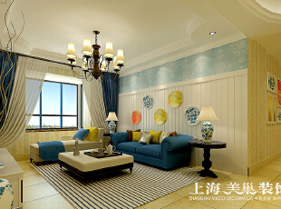 溪景桂园118平三室两厅田园风格装修效果图--沙发墙,白色混油护墙板、蓝色的壁纸效果表现出了海风一样的感觉,118平,10万,田园,三居,