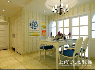 郑州溪景桂园118平三室两厅田园风格装修效果图--餐厅,简单明快的餐厅效果,呼应了地中海风格的效果,118平,10万,田园,三居,