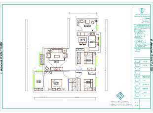 溪景桂园118平3室2厅田园风格样板间装修户型图,118平,10万,田园,三居,