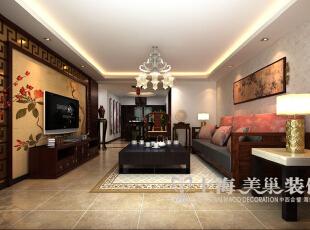 郑州海马公园三室两厅141平方装修案例新中式风格效果图——客厅全貌,电视背景墙用经典的新中式元素,简单而大气;而沙发背景墙局部的一副大壁画,色彩鲜艳,让人眼前一亮。,141平,10万,中式,三居,