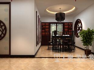 海马公园141平方新中式风格装修三室两厅案例样板间效果图——餐厅装修效果图,规矩的吊灯大气华丽,与餐桌搭配,显得落落大方。,141平,10万,中式,三居,