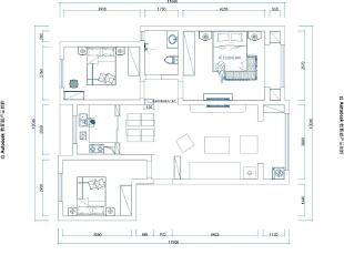 海马公园装修141平案例三室两厅户型平面布局方案图,141平,10万,中式,三居,