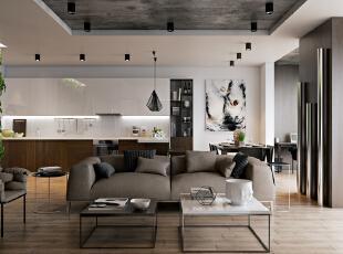 ,客厅,现代,简约,黑白,白色,