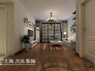 蓝堡湾美式乡村装修89平两室两厅效果图案例——客厅全景,89平,6万,美式,两居,客厅,
