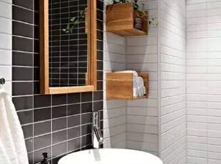 洗手盆部分,木制镜框、墙角收纳盒子的设计,使整个空间更加干净、错落有致,一株绿植,增添了生机与活力。,51平,6万,简约,一居,