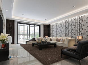 ,265平,48万,现代,大户型,客厅,黑白,