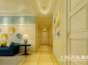 郑州溪景桂园三室两厅地中海风格装修方案——廊厅装修效果图,118平,7万,地中海,三居,玄关,黄色,