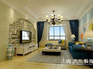 溪景桂园三室两厅地中海风格装修案例——客厅装修效果图,118平,7万,地中海,三居,客厅,黄色,