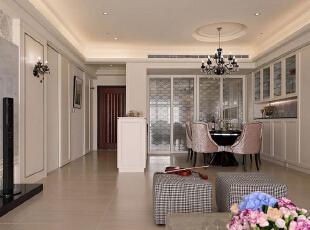 为不减厨房的采光明朗,在清玻立面贴饰入线性图腾,作为拉门的华丽点缀。,130平,15万,欧式,三居,餐厅,白色,