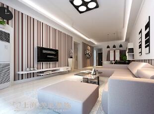 雅居乐国际花园95平方三室两厅客厅装修效果图---流畅的线条及别具一格的色彩搭配,犹如蝴蝶般翩翩起舞,成为空间的主体。,95平,6万,三居,客厅,白色,简约,