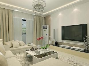 ,108平,60000万,现代,三居,客厅,白色,