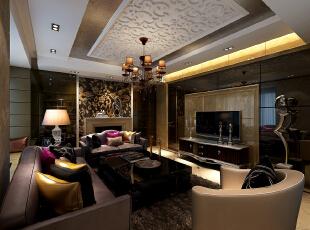 ,160平,35万,新古典,三居,客厅,黑白,