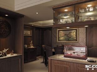 动线上无明确段落转折,以上下餐柜与端景柜作为功能暗示,展示屋主收藏的文物、杯具。,135平,19万,现代,三居,