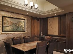 古铜钱的方圆造型间,雾金色的隐隐光泽为沉稳的深色木质,添入低调奢华的用餐表情。,135平,19万,现代,三居,
