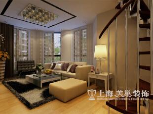 托斯卡纳现代简约风格140平三室两厅装修案例样板间效果图——沙发背景墙,以八角窗为背景,充分体现时尚的气息。,140平,11万,现代,三居,
